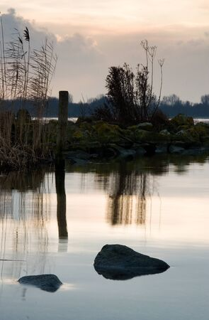 almere: Water level view of rocks and plants in wetlands area of Almere Netherlands at sunset