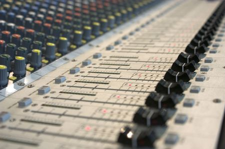 synthesiser: buttons from music mixing console Stock Photo