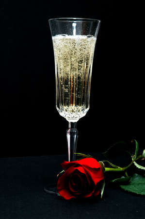 Champagne and Red Rose Stock Photo