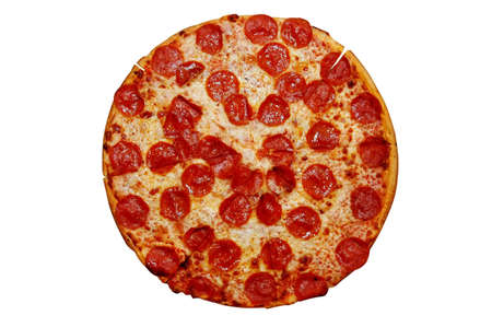 pepperoni pizza: Whole Pepperoni Pizza Stock Photo
