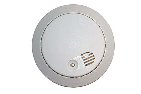 safe and sound: Smoke alarm with clipping path
