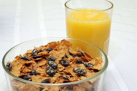 Raisin Bran and Orange Juice Stock Photo - 942573