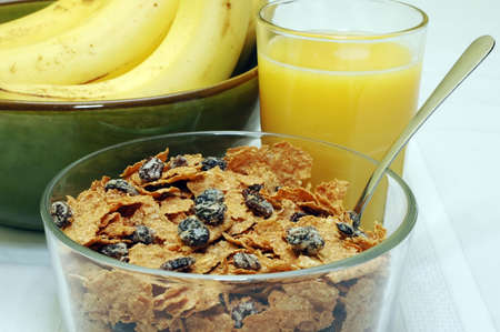 Raisin Bran, Orange Juice, and Bananas Stock Photo - 942575