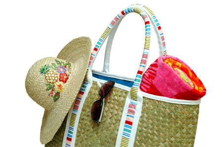 Beach Bag with Beach Towel, Sun Hat, and Sunglasses - clipping path Stock Photo