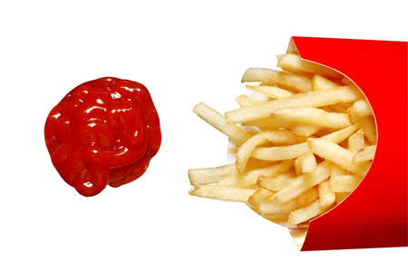 tomato catsup: French Fries and Ketchup with Clipping Path Stock Photo