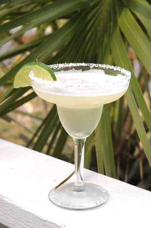 Margarita with salt and lime with palm tree in background.
