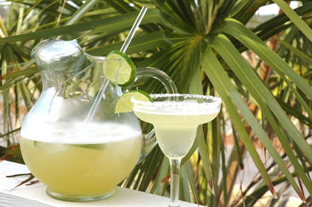 margarita cocktail: Margarita with salt and lime with pitcher and palm tree in background. Stock Photo
