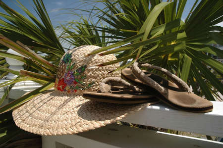 Sun hat and flip flops on deck with palm tree in background. photo