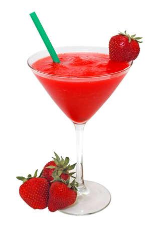 Strawberry daiquiri with strawberries and straw.  Isolated on white background Zdjęcie Seryjne - 1230337