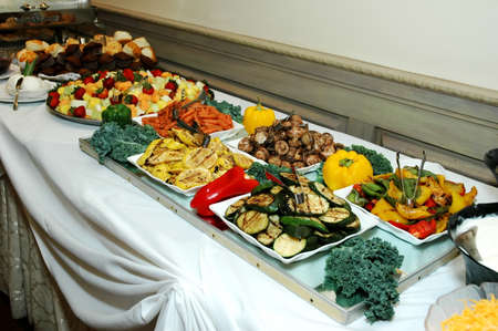 feast table: Buffet table at formal occasion in restaurant. Stock Photo