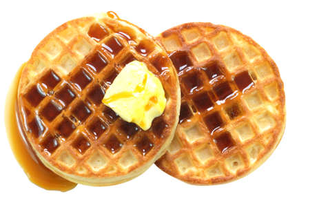 Waffles with syrup isolated on white