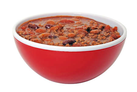 Bowl of hot chili with beans.