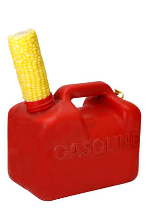 Gasoline can and corn to show energy concept.   Stock Photo