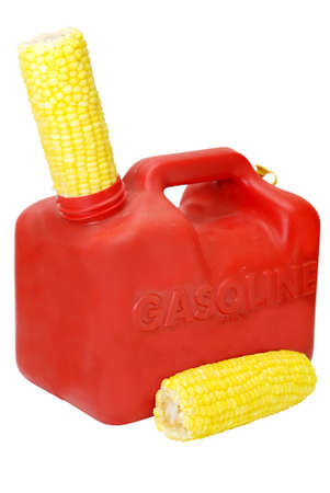 Gasoline can and corn to show energy concept.