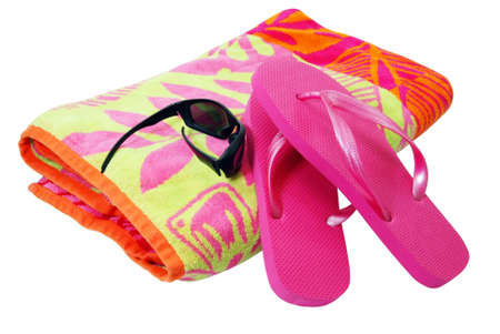 Beach towel, sunglasses, and flip flops isolated on white background with clipping path. Stock Photo - 2995297
