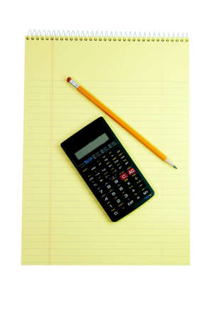 Spiral notebook, calculator, and pencil isolated on white background with clipping path.