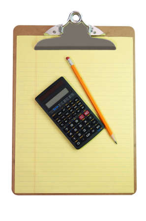 Clipboard, calculator, pencil, and paper isolated on white background with clipping path. photo