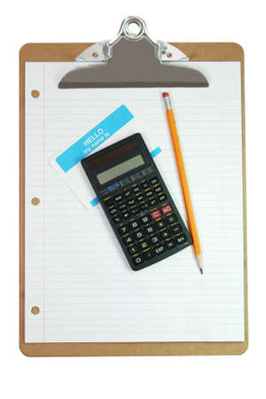 Cllipboard, calculator, pencil, name tag, and white lined paper isolated on white background with clipping path. Stock Photo - 2995291