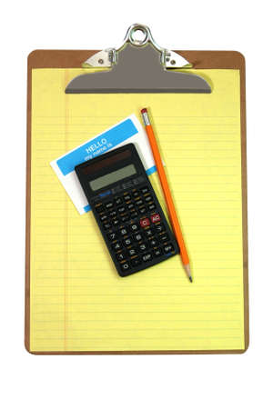 Clipboard, calculator, pencil, name tag, and yellow lined paper isolated on white background with clipping path.