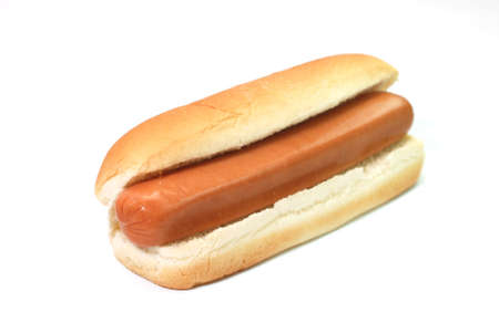 wiener dog: Plain hot dog isolated on white background.