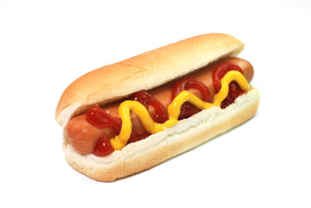 dog food: Hot dog with ketchup and mustard isolated on white background.