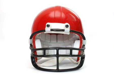 Red football helmet isolated on white background.