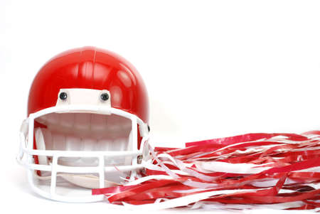 pom: Red football helmet and pom poms isolated on white background.