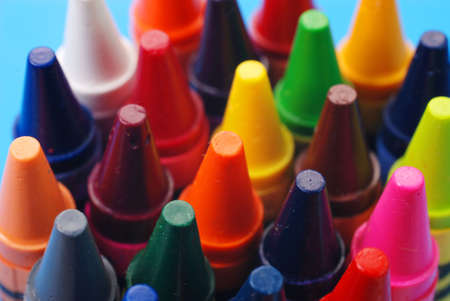 Closeup of assorted crayons with focus on orange. Stock Photo - 3431206