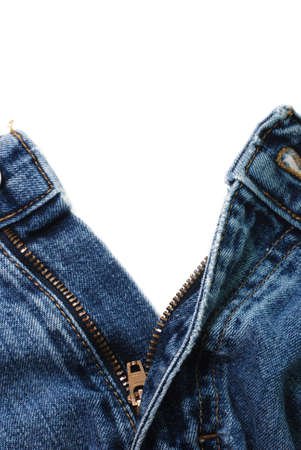 Closeup of zipper in blue jeans isolated on white background. Zdjęcie Seryjne - 3547538