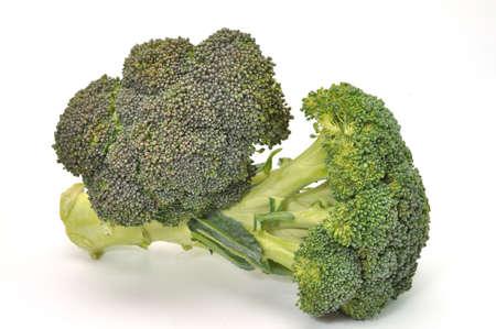 florets: Fresh broccoli isolated on white background.