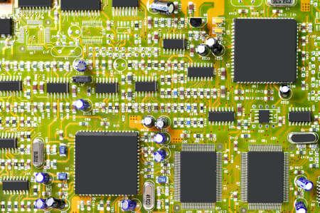 gigabytes: Macro of circuit board.