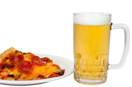 Pepperoni pizza and beer isolated on white background