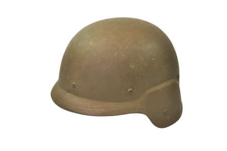 kevlar: Kevlar army helmet isolated on white background with path. Stock Photo