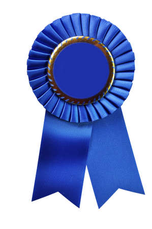 first prize: Blue ribbon award blank with copy space.  Stock Photo