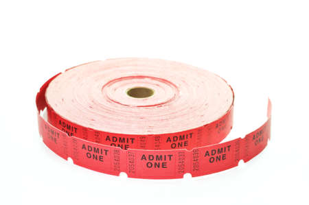 Roll of tickets isolated on white background. photo