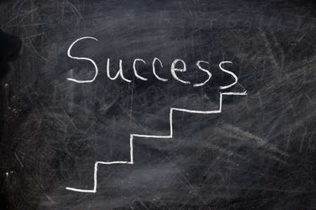Ladder to success on black chalkboard with chalk dust.   Stock Photo - 4575936