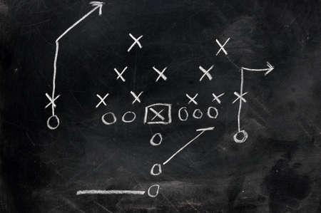 Diagram of football play on black chalkboard.   photo