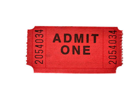 Admission ticket isolated on white background with path.