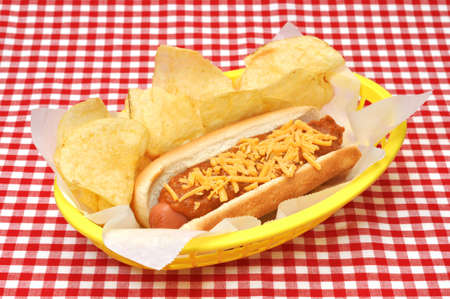 Chili Cheese Hot Dog with Potato Chips photo