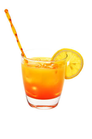 Tequila Sunrise with Lemon Isolated Stock Photo