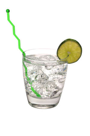 Gin and tonic with Lime Isolated Zdjęcie Seryjne