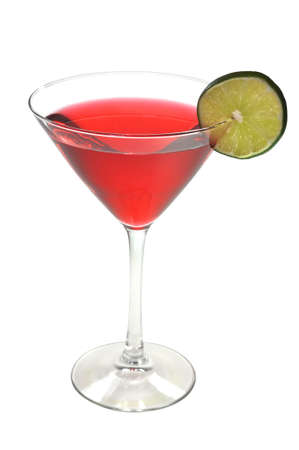 Red Cosmopolitan with Lime Isolated