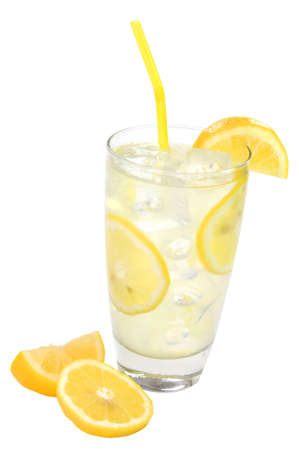 Glass of lemonade with lemons and straw. Isolated on white background with path. Zdjęcie Seryjne