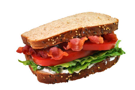 Bacon, lettuce, and tomato sandwich. Isolated on white background with path. Stock Photo