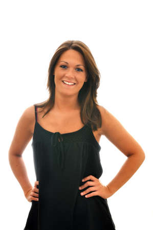 shot: Smiling brunette girl isolated on white background