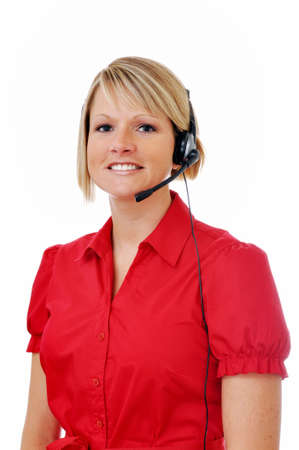 白い背景で隔離のヘッドセットとブロンドの女性顧客サービス担当者。 写真素材