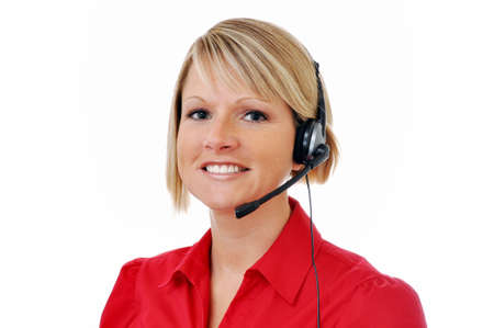 Blond female customer service representative with headset isolated on white background.