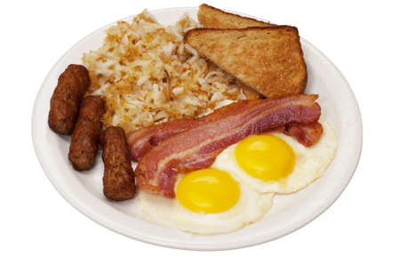 Breakfast plate with eggs sunny side up, bacon, link sausage, hash browns, and toast.