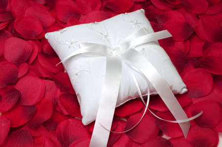 Ring bearers pillow on bed of red rose petals.