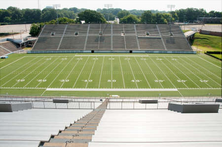 sideline: High school football stadium showing entire field. Stock Photo